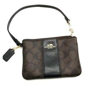 Coach signature Single zip wristlet brown/ black